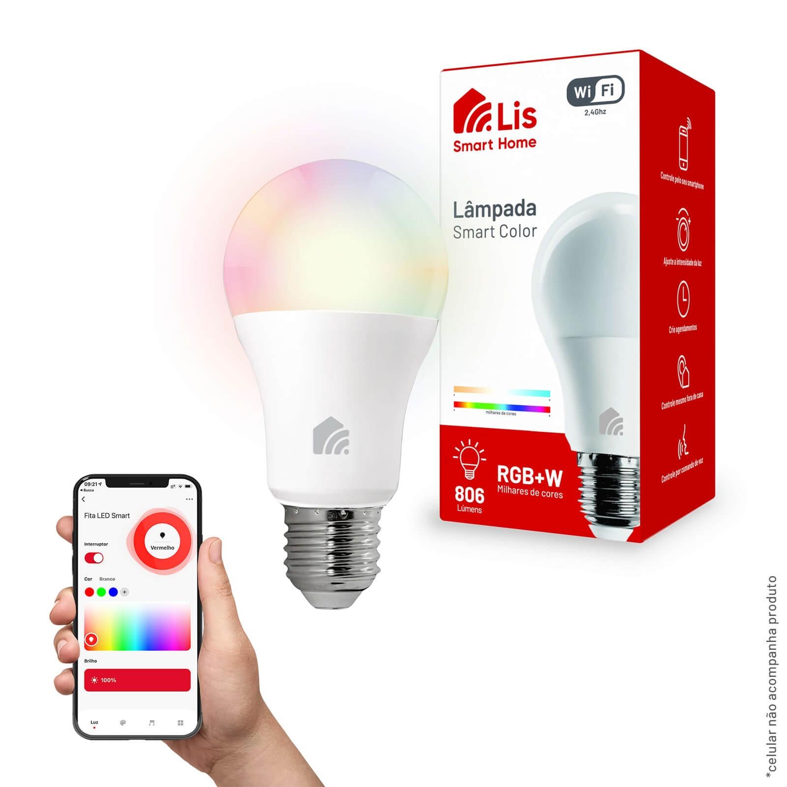 Lampada Smart LED Lis Wi-Fi Bulbo Inteligente 10W RGB E27 Autovolt