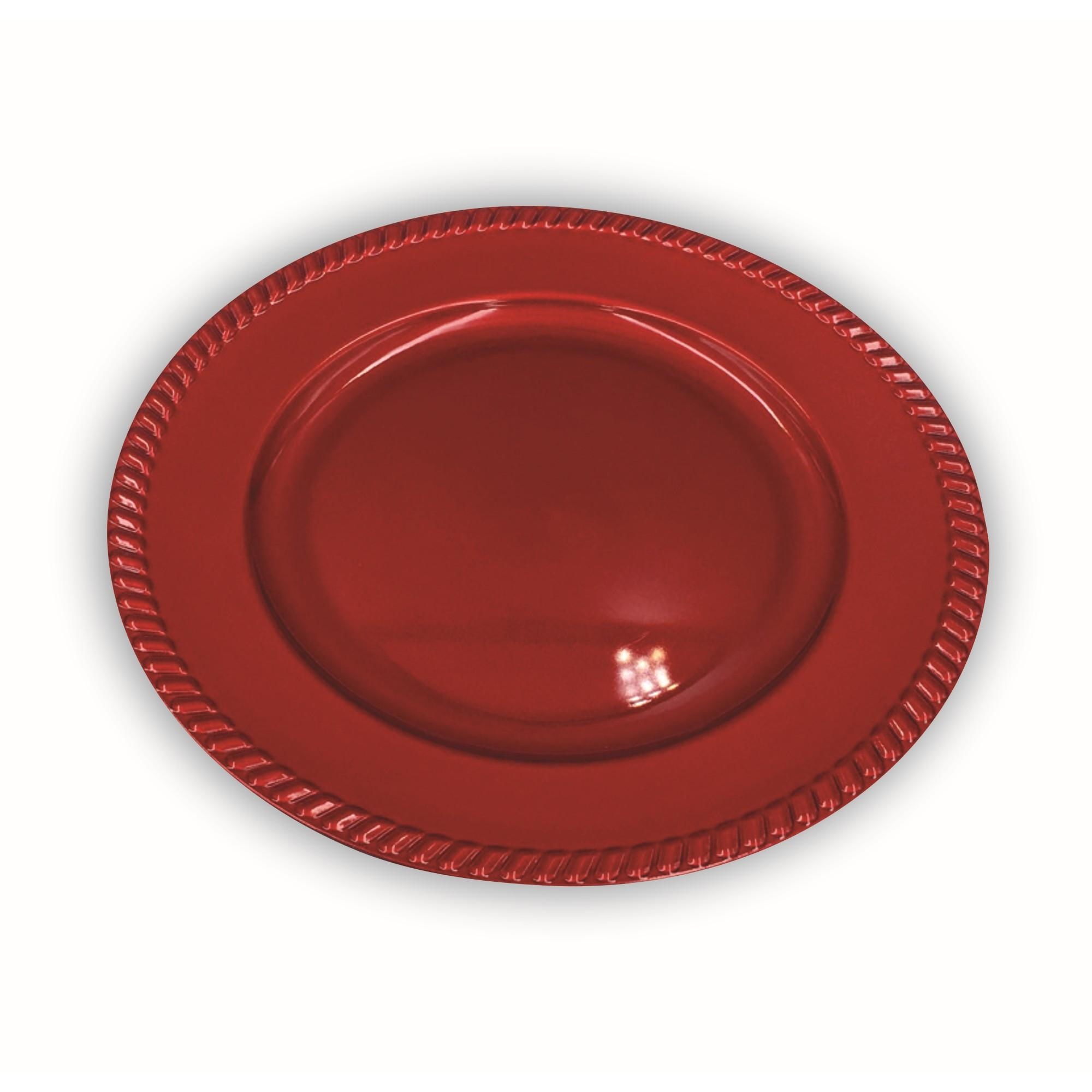 Sousplat de Plastico Redondo 33cm Vermelho - HLG111-R - Bianchini