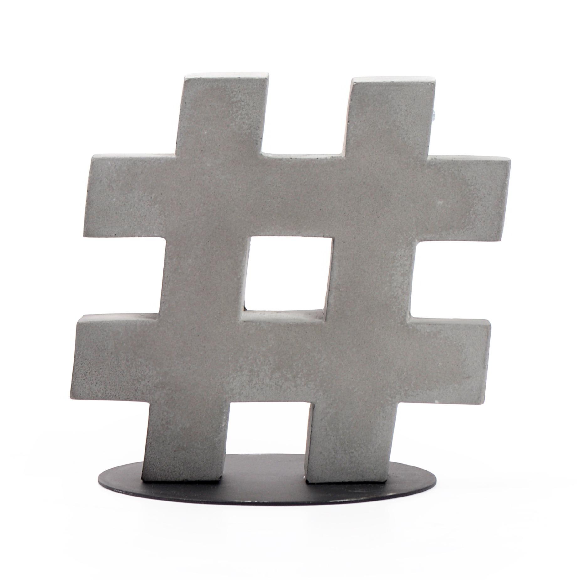 Enfeite Hashtag 14cm de Cimento - Decorglass