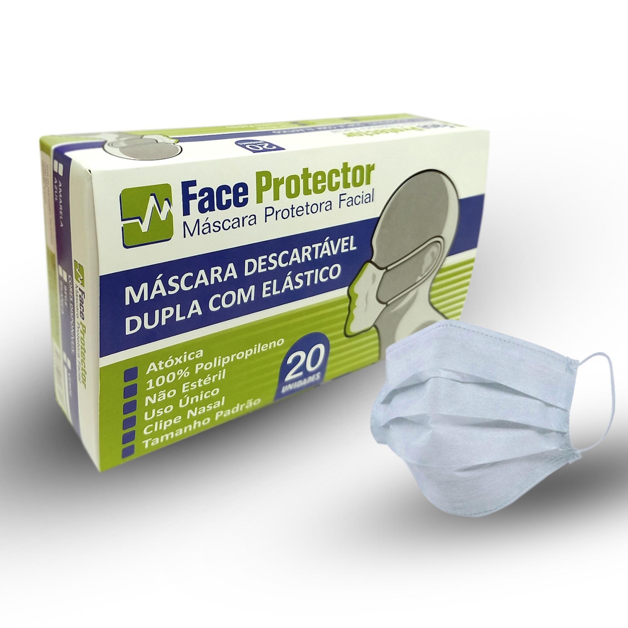 Mascara Protetora Facial Descartavel TNT Dupla Camada 40g Branca Clip Nasal 1 Caixa com 20 Unidades