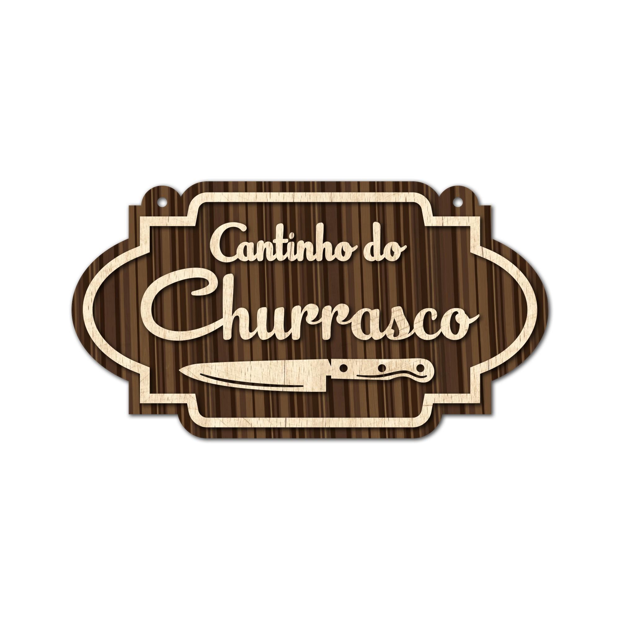 Placa Decorativa Madeira 34x19cm Cantinho do Churrasco - Cia Laser
