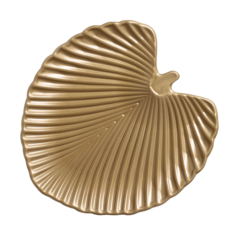Centro de Mesa Leaves de Ceramica Dourado 33cm 6280 - Ana Maria