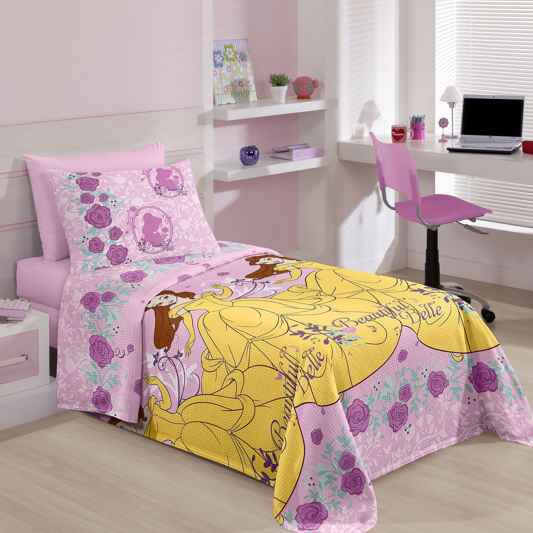 Colcha Solteiro Santista Piquet Princess Belle 100 Algodao 150x230 cm Rosa