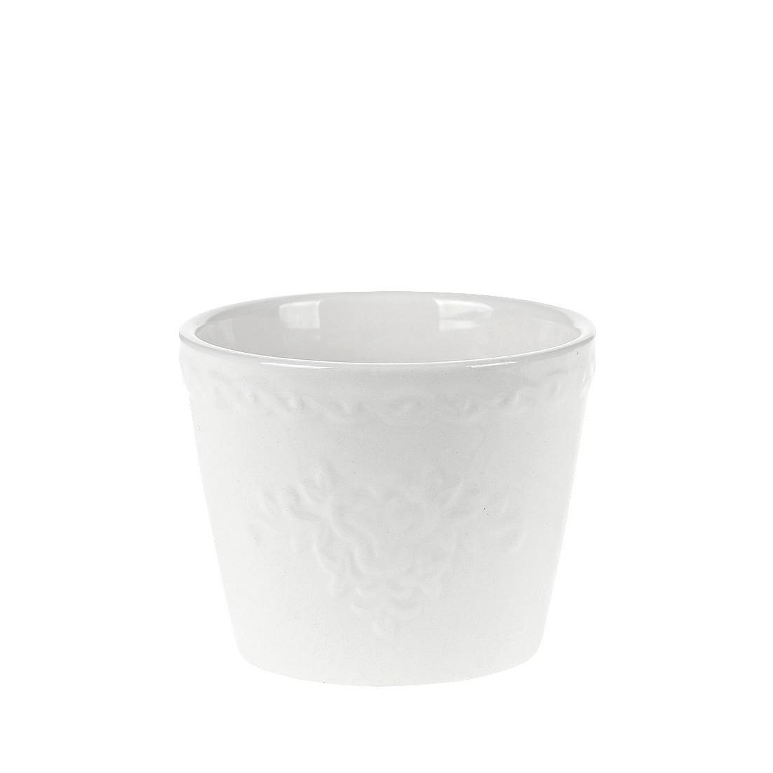 Vaso Decorativo de Ceramica Branco 7 cm