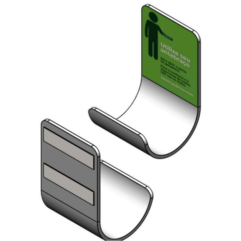 Puxador Braconeta Para Porta Aluminio Ideal para Prevencao do Covid 19 - Equipa