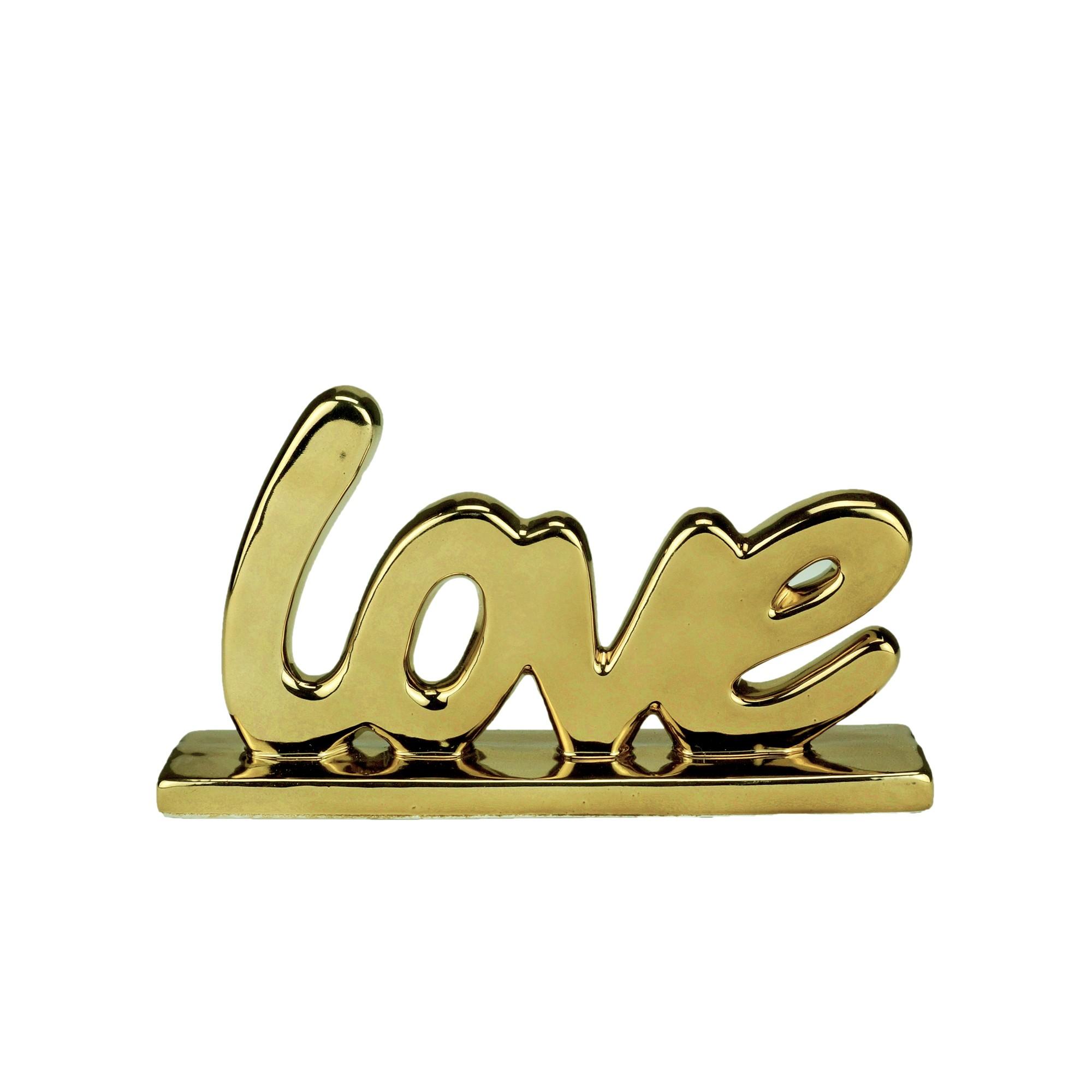 Enfeite Decorativo Porcelana Love 11cm Dourado 44368 - Urban