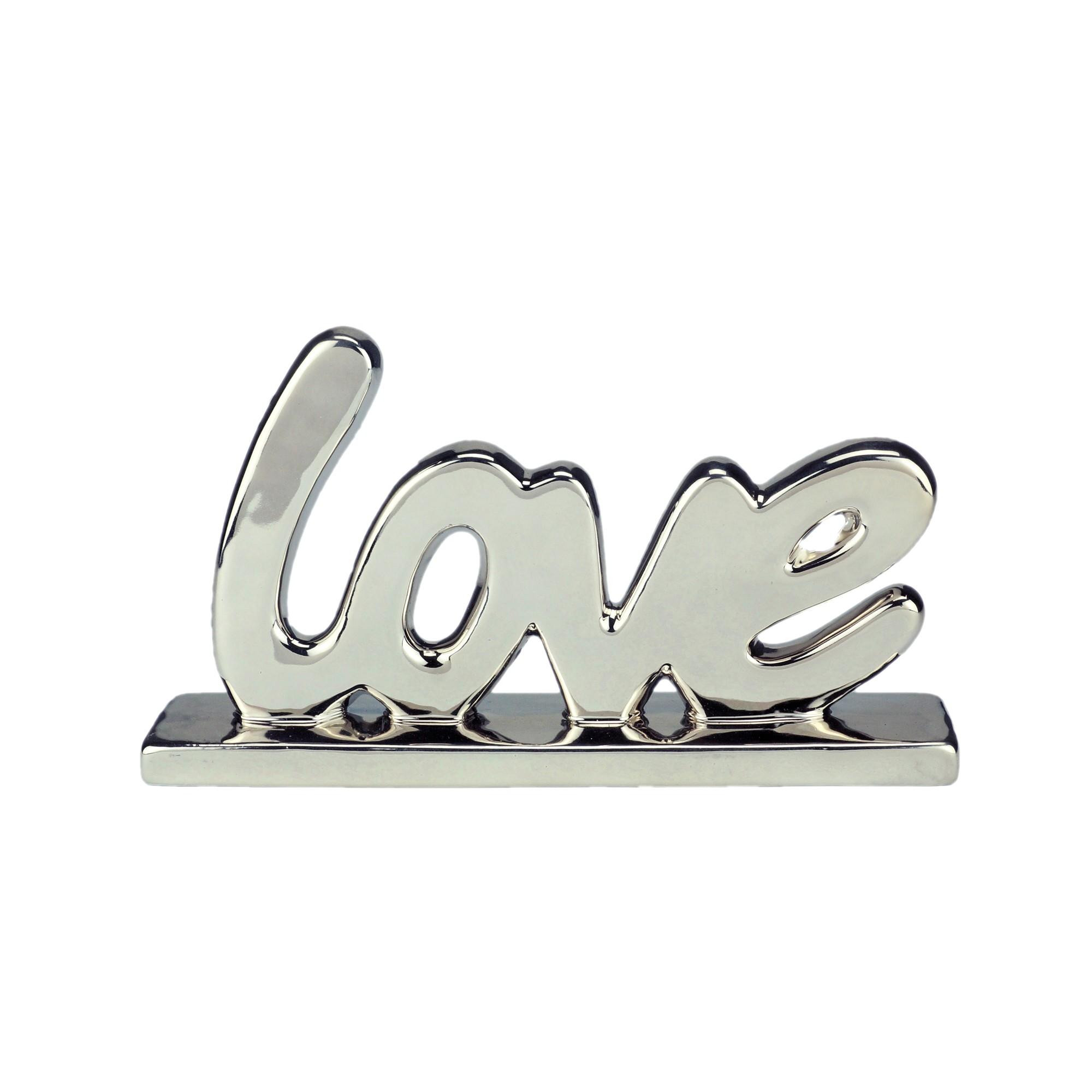 Enfeite Decorativo de Ceramica Love 21cm Prata - Urban