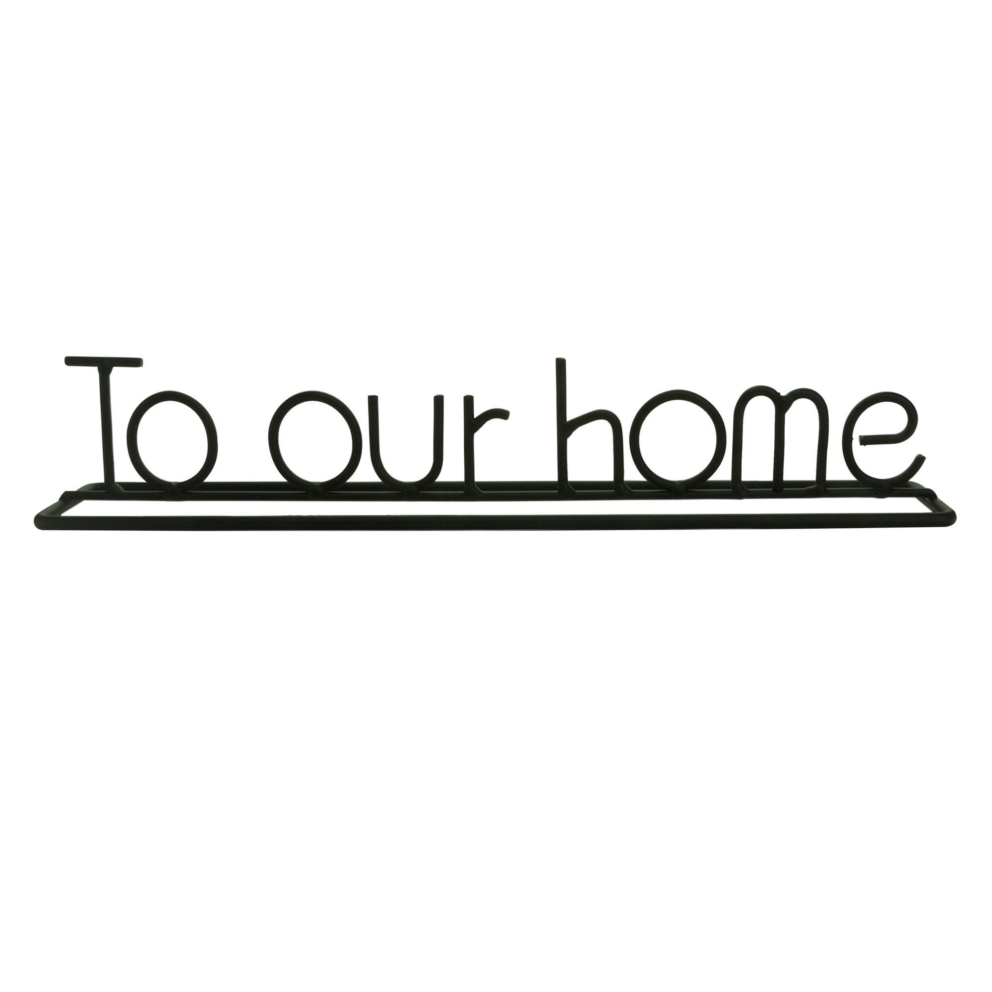 Enfeite Decorativo Metal To Our Home Preto - Urban