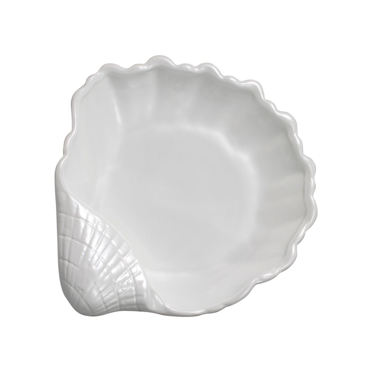 Enfeite de Ceramica Concha Branco 27cm 6430 - Ana Maria