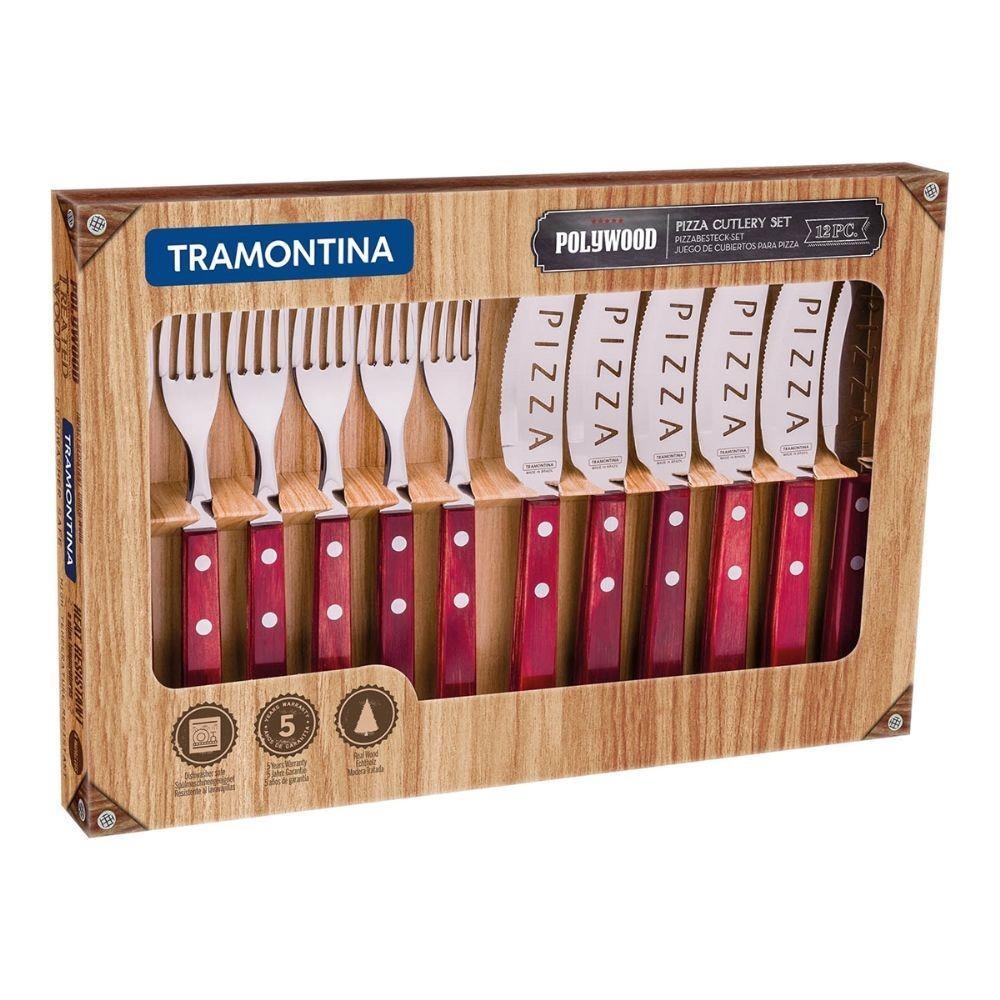 Conjunto de Talheres para Pizza Tramontina em Aco Inox 12 Pecas Polywood Vermelho