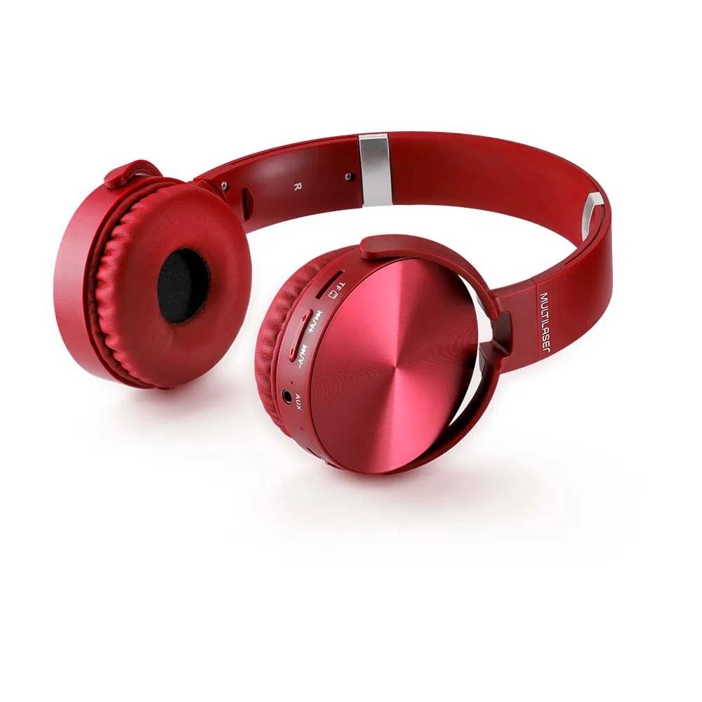 Fone de Ouvido Bluetooth com SDAuxFM Vermelho - PH266 - Multilaser