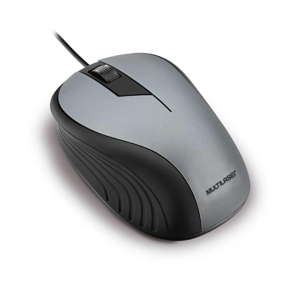 Mouse com Fio Emborrachado Cinza - MO225 - Multilaser