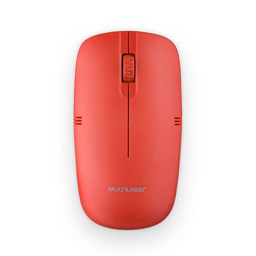 Mouse Sem Fio Wireless Vermelho - MO289 - Multilaser