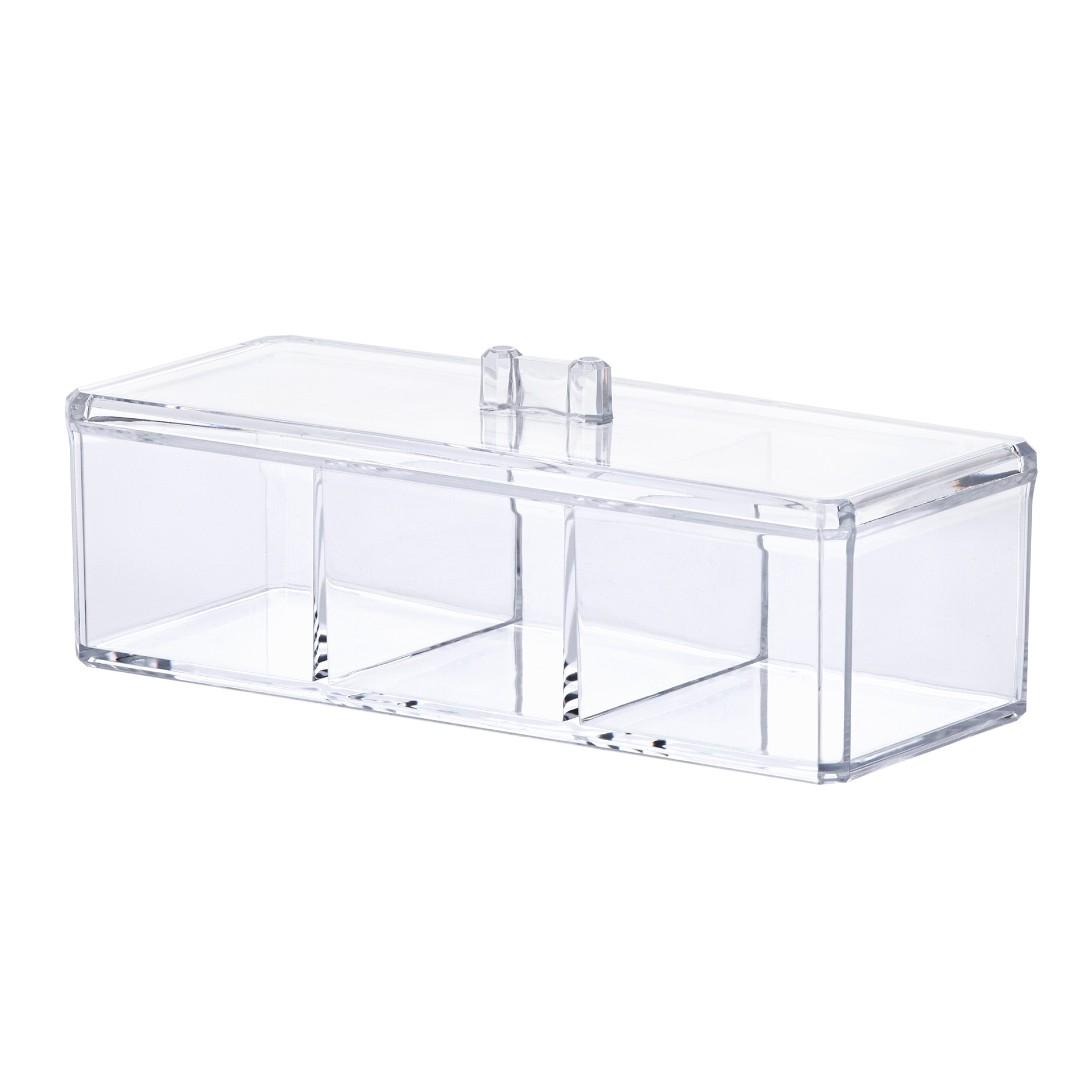 Organizador de Cosmeticos Acrilico com Divisoria 23x9 cm Paramount Transparente - 1198