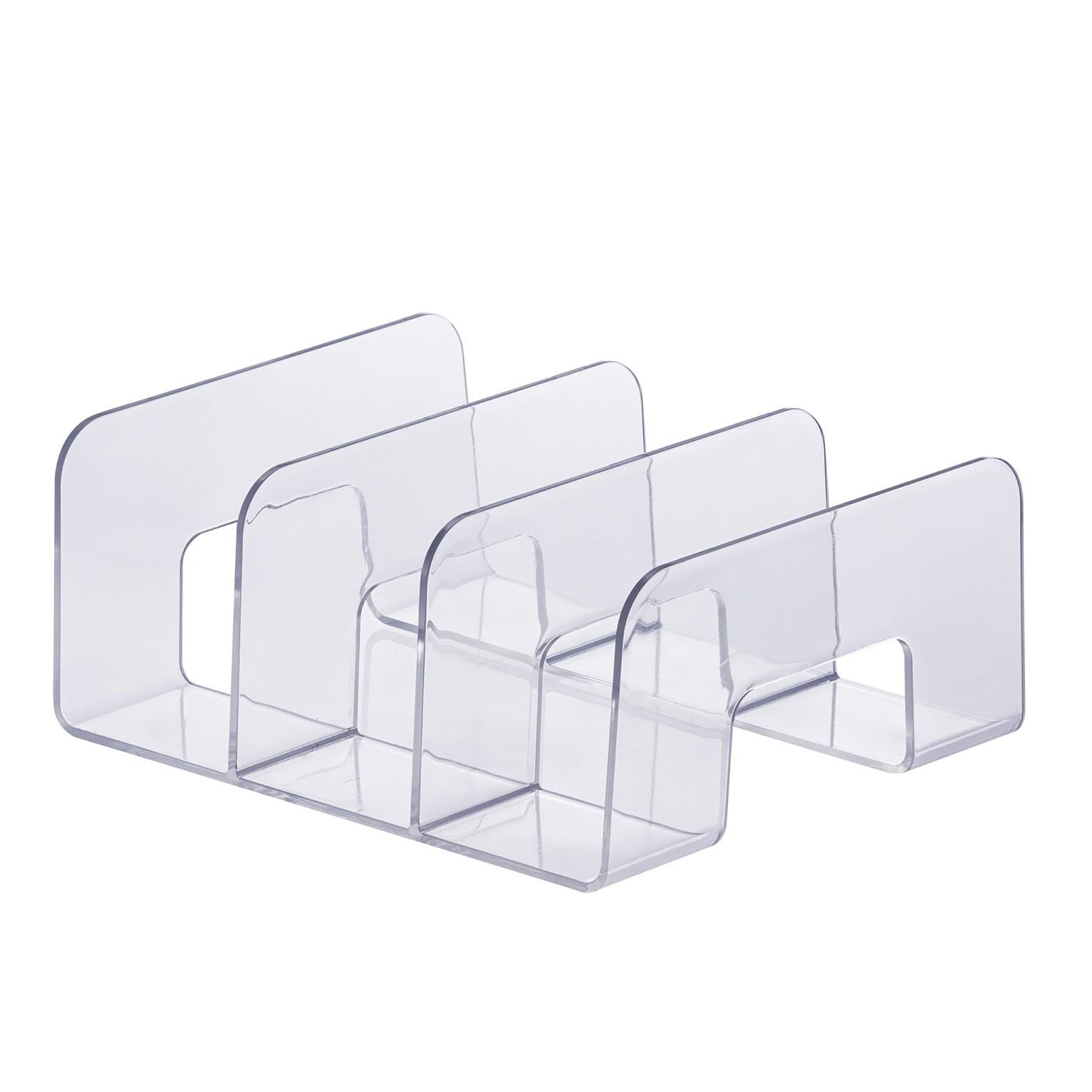 Organizador Multiuso Acrilico 20x10cm 3 Divisorias Transparente - Paramount