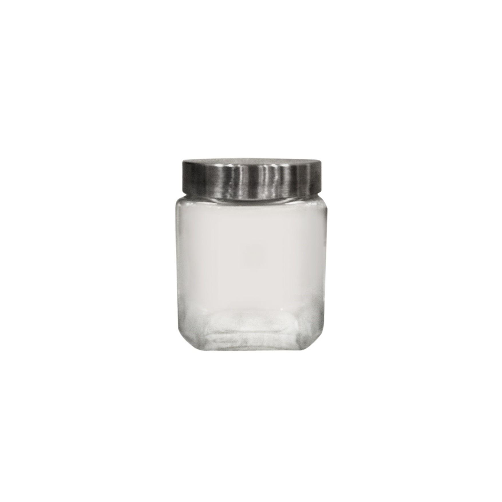 Pote para Biscoito de Vidro Quadrado 12L com Tampa Branco - Full fit