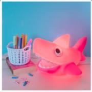 Abajur Infantil de Mesa Tubarão Rosa Bivolt - Usare