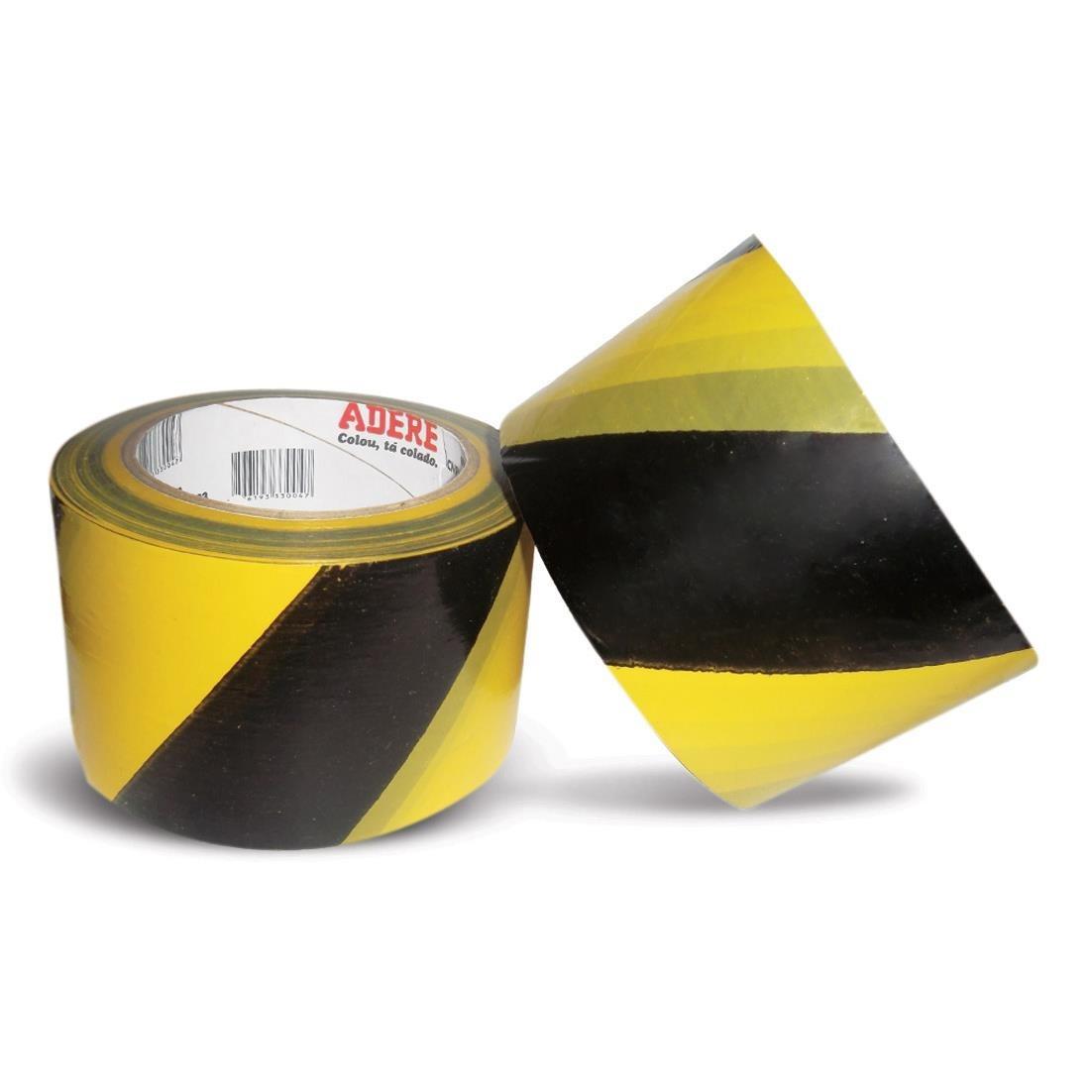 Fita Demarcacao 7mm x 200m Amarelo Zebrada 1 Unidade - Adere