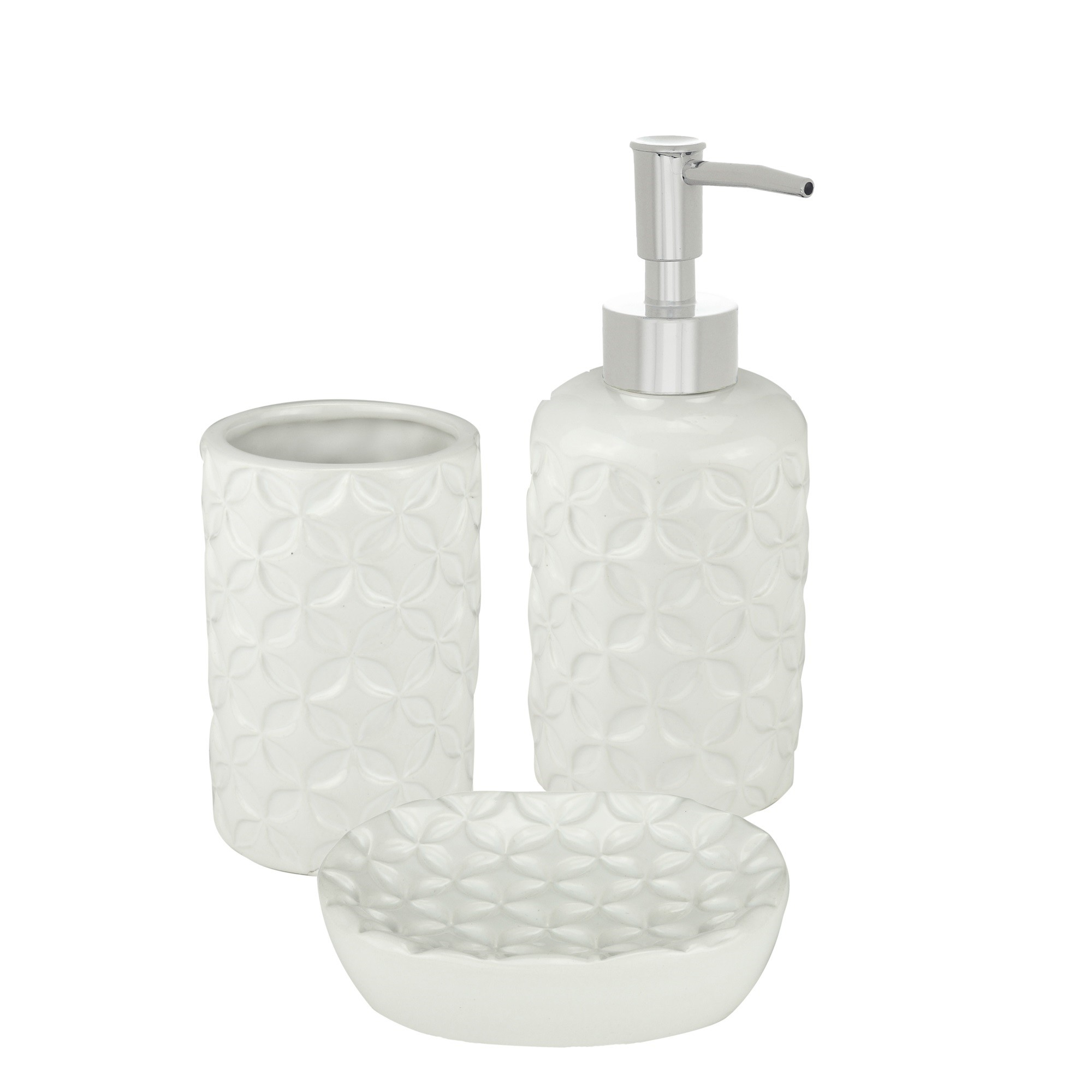 Jogo em Ceramica para Banheiro 3 Pecas Strings Cinza - Urban