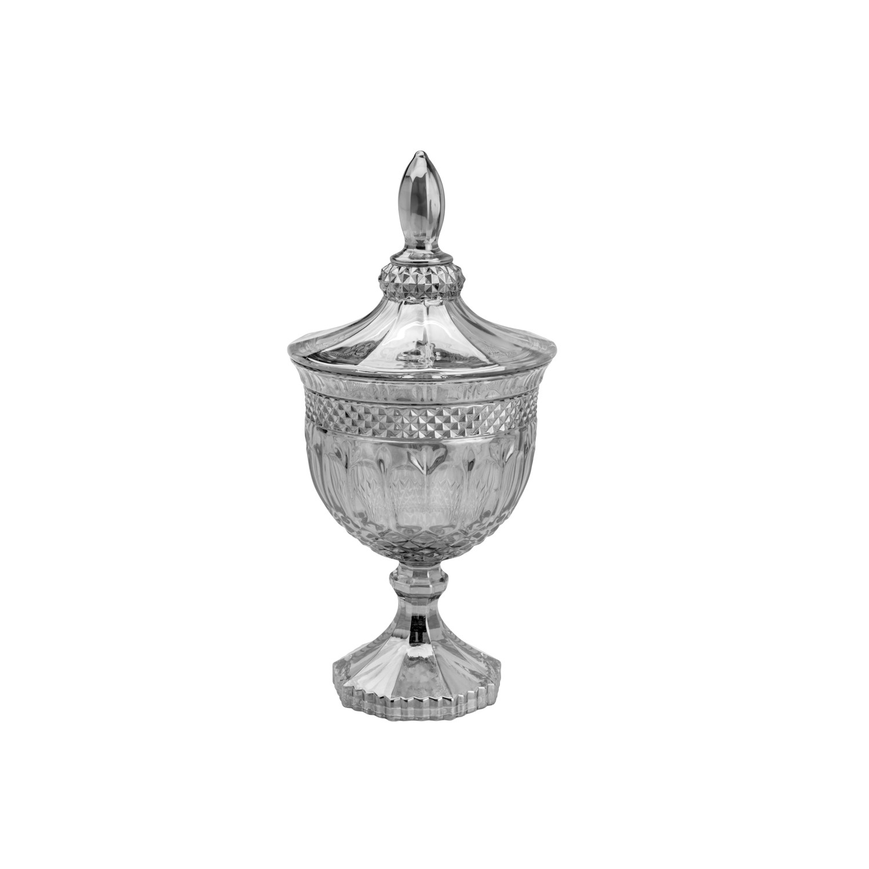 Bomboniere de Cristal 24cm Cinza 7694 - Lyor Decor