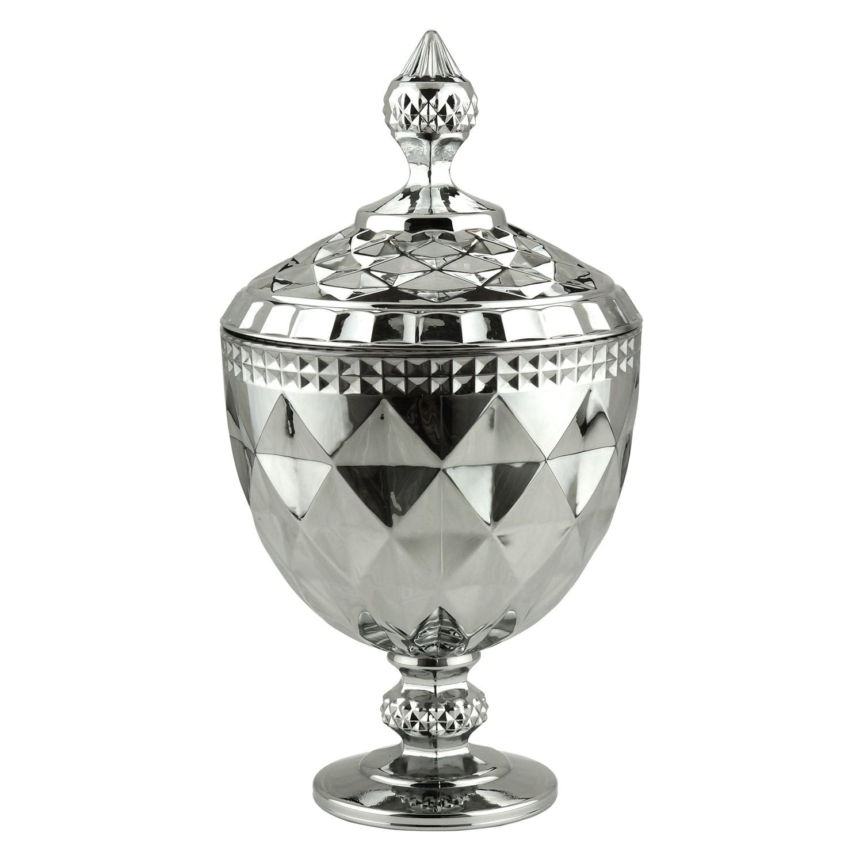 Bombonieire de Cristal 28cm Cinza 7769 - Lyor Decor