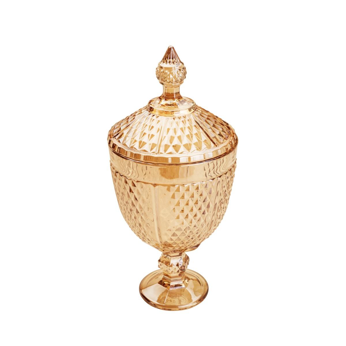 Bomboniere de Cristal 32cm Perseu Ambar 7228 - Lyor Decor