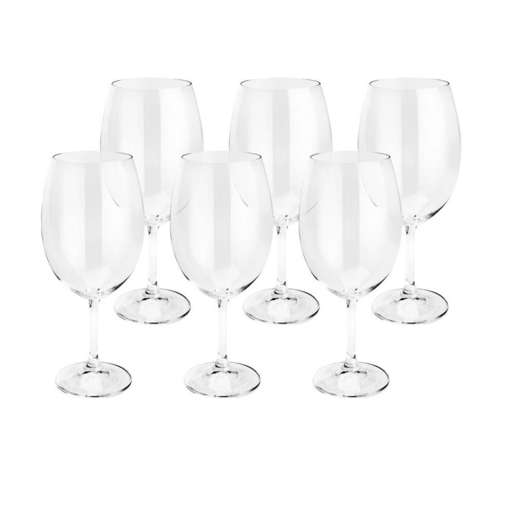 Jogo de Tacas de Cristal Ecologico para Vinho 6 Pecas 580ml 5586 - Lyor Ud