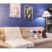 Almofada Quadrada Personalizada 40x40cm Bege/Azul - Crabolando