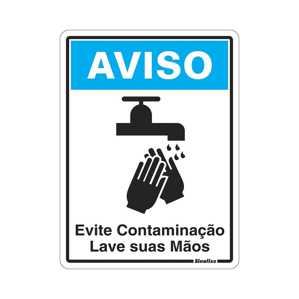 Placa de Poliestireno Aviso Evite Contaminacao Lave As Maos 15cm x 20cm - Sinalize