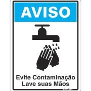 """Placa de Poliestireno """"Aviso Evite Contaminação Lave As Mãos """" 15cm x 20cm - Sinalize"""