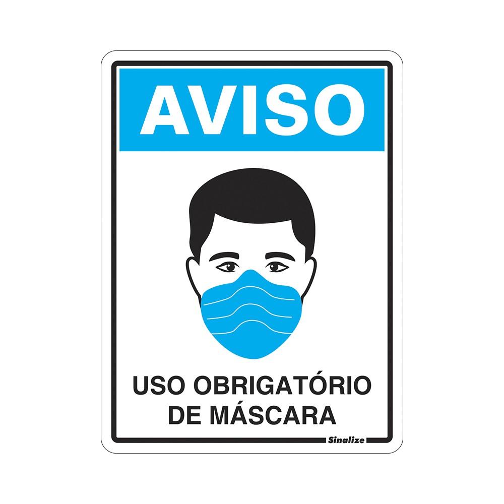 Placa de Poliestireno Uso Obrigatorio De Mascara Covid-19 15cm x 20cm - Sinalize