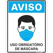 """Placa de Poliestireno """"Uso Obrigatório De Máscara Covid-19 """" 15cm x 20cm - Sinalize"""
