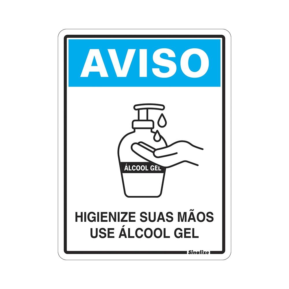 Placa de Poliestireno Higienize Suas Maos Use Alcool Em Gel Covid-19 15cm x 20cm - Sinalize