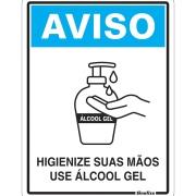 """Placa de Poliestireno """"Higienize Suas Mãos, Use Álcool Em Gel Covid-19 """" 15cm x 20cm - Sinalize"""