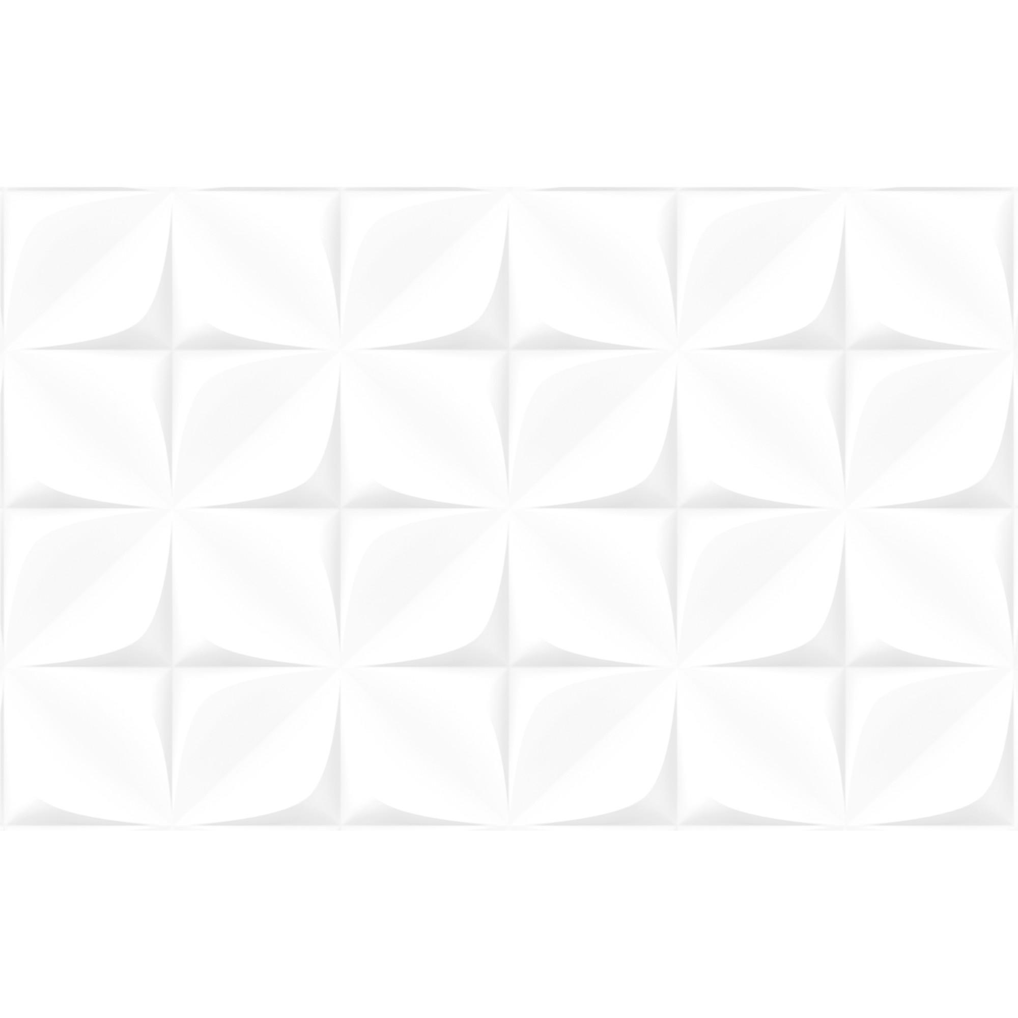 Revestimento Arielle Tipo A Branco 37x59 cm Esmaltado com Alto Relevo 239m Tecnologia de Impressao Digital HD
