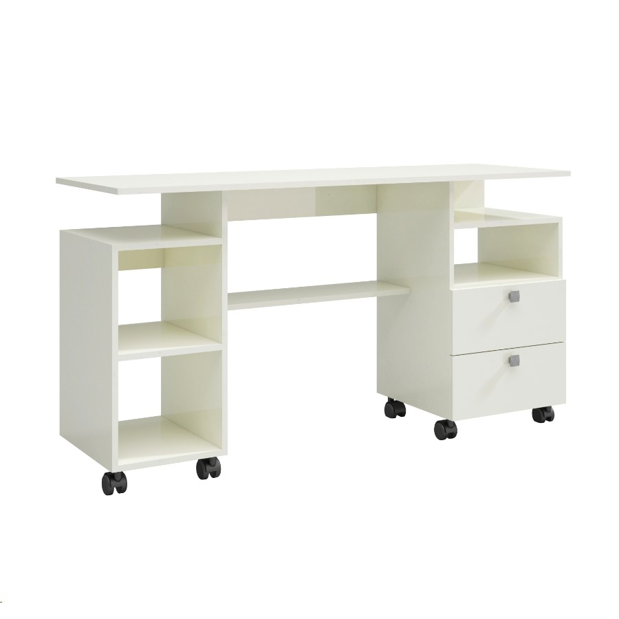 Mesa para Escritorio 137cm 2 Gavetas Off-white - Dalla Costa