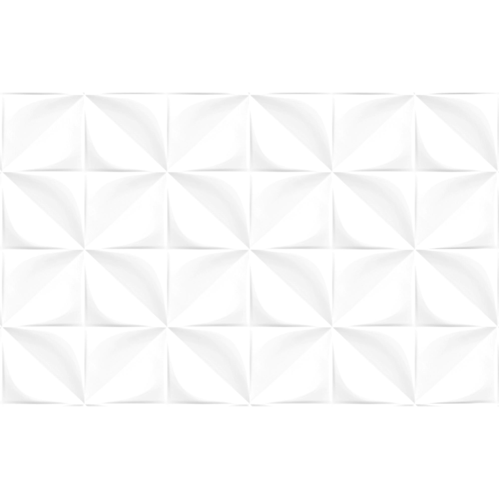 Revestimento Arielle Tipo A 37x59 cm Esmaltado Branco com Alto Relevo 239m Tecnologia de Impressao Digital HD