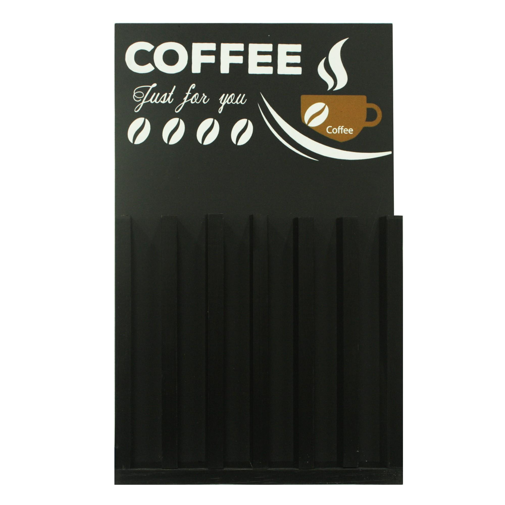Quadro Decorativo 28x48cm Porta-Capsula Nespresso Preto 68858 - Kapos