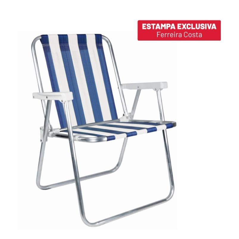 Cadeira de Praia Alta em Aluminio Azul - Mor