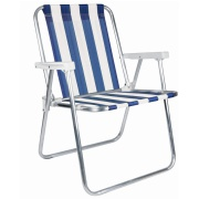 Cadeira de Praia Alta em Alumínio Azul - Mor
