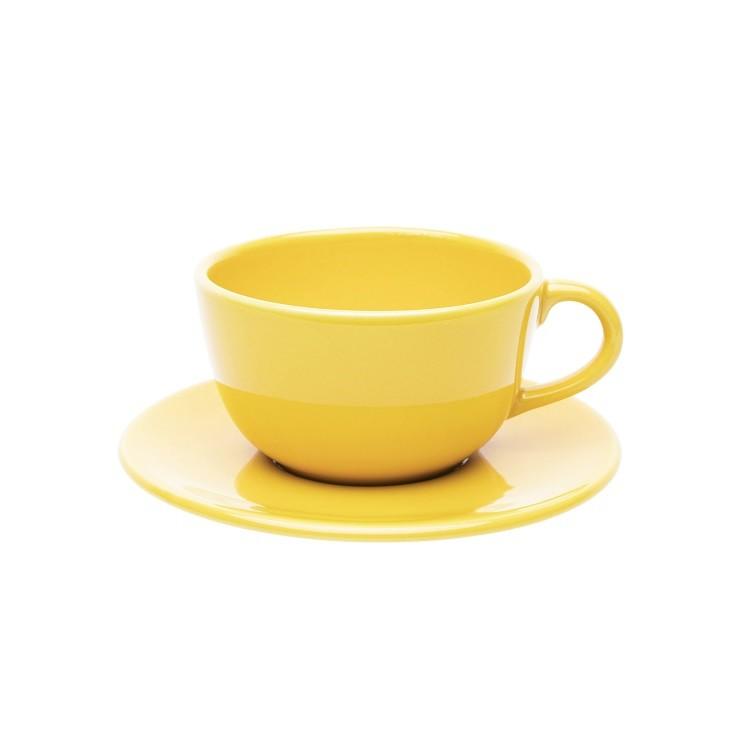 Xicara De Cha Ceramica 220ml Com Pires Amarelo - Oxford