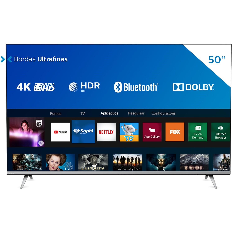 Smart TV LED 50 Philips 4KUltra HD 50PUG665478 Wi-Fi - 3 HDMI 2 USB