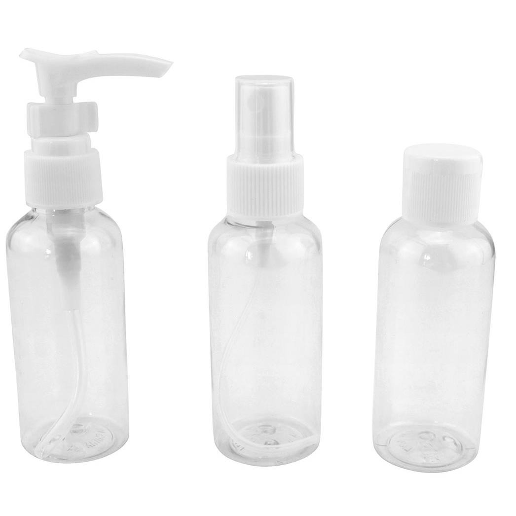 Kit Viagem com 3 Frascos de Plastico para Alcool 60 ml - Clink