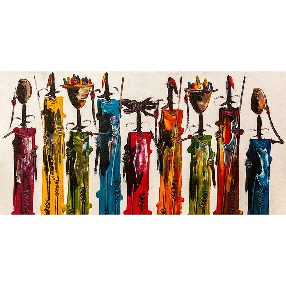 Quadro Decorativo em Canvas 50x100 cm Abstrato Pessoas - Jolie