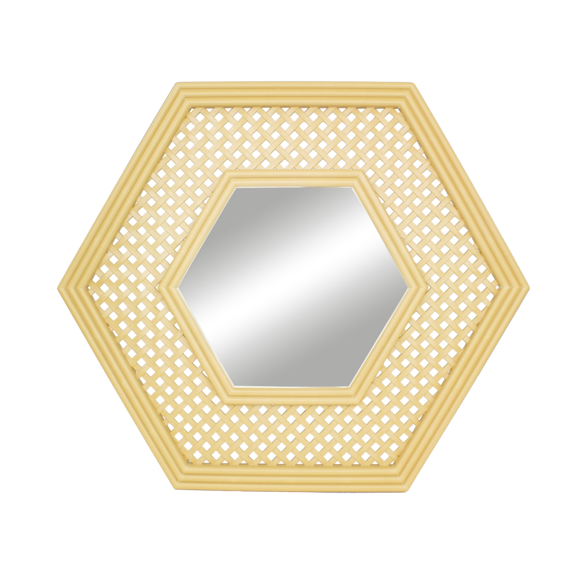 Espelho Decorativo Hexagonal 50x50 cm Marfim - Jolie
