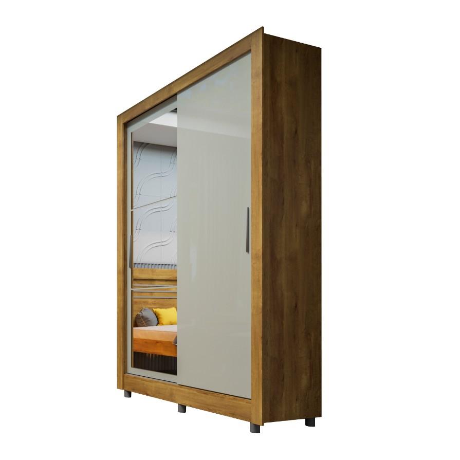 Guarda-roupa Casal com Espelho 2 Portas Ipe Rustic e Off White Zurique - Tcil