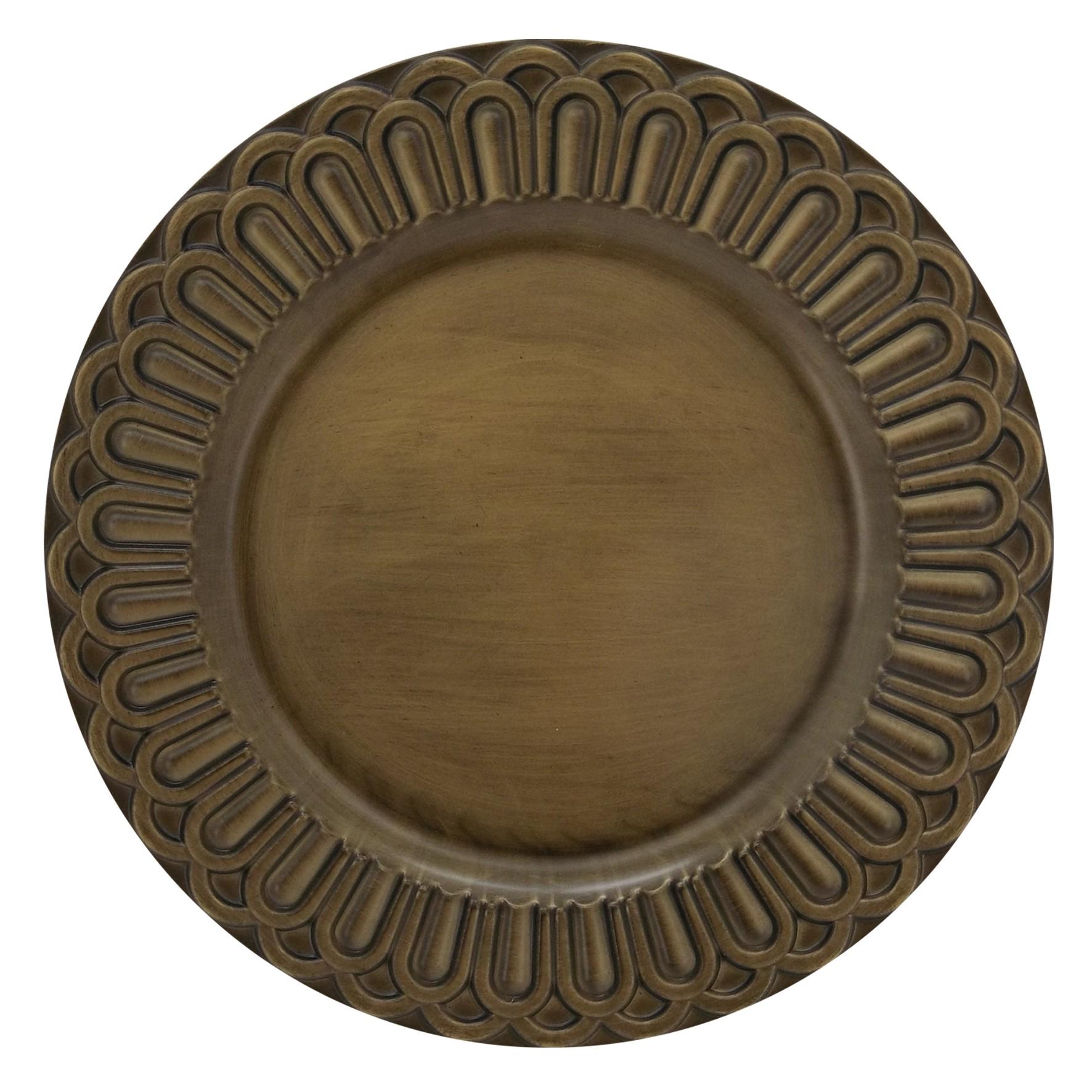 Sousplat Redondo Plastico 33cm Dourado Arcos - Mimo Style