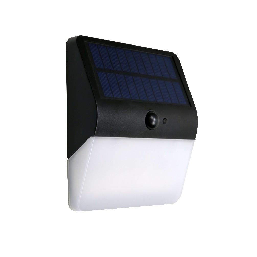 Arandela Solar 400LM Quadrada Preto 3000K 546 - Ecoforce