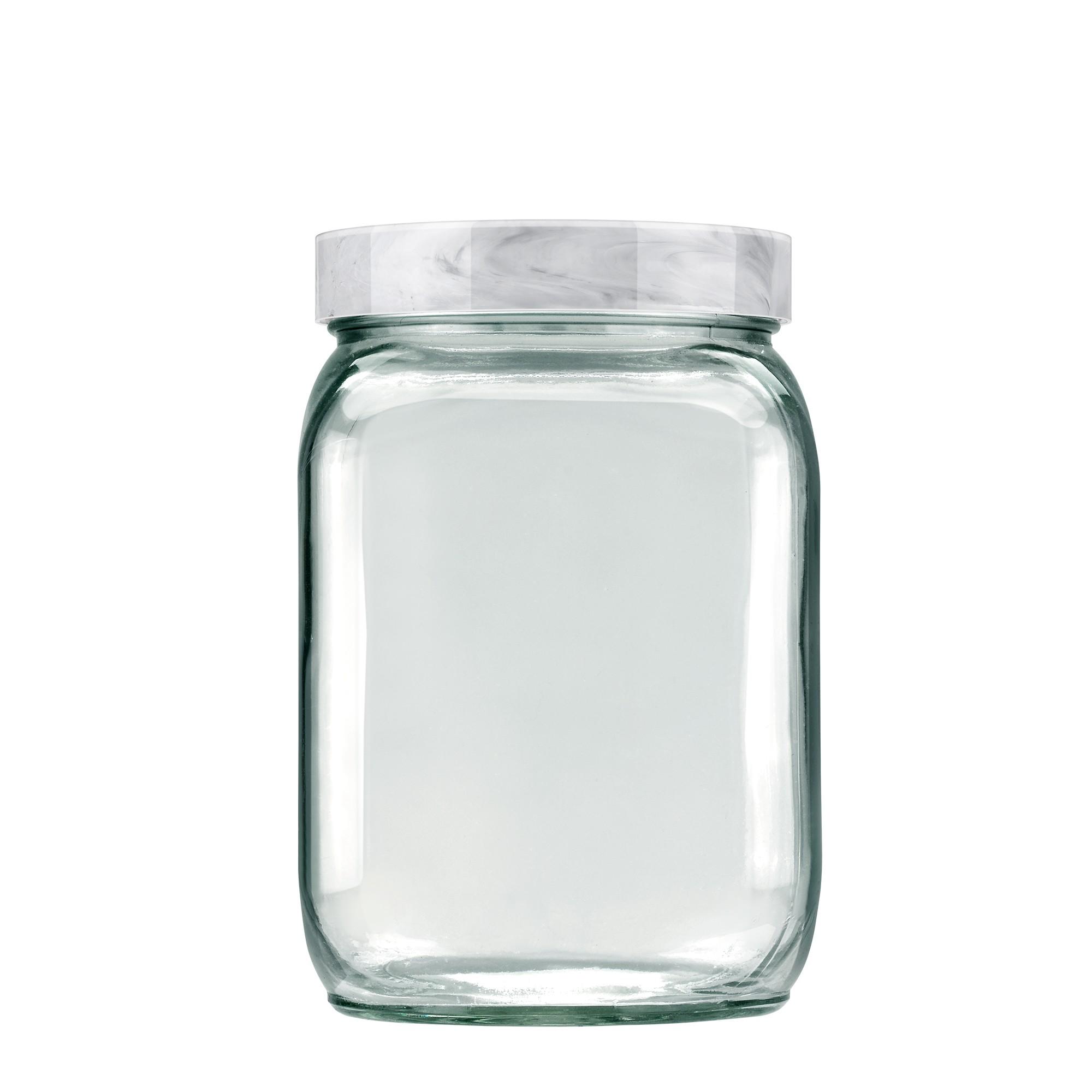 Pote de Vidro Quadrado 13L Branco Carrara -Invicta