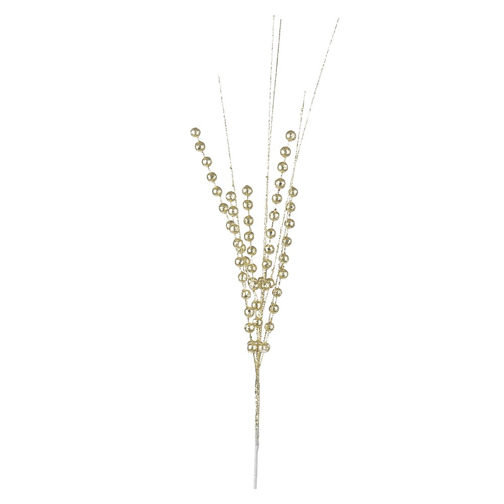 Haste de Natal Flor com Bolinhas 54cm Dourado - Dea